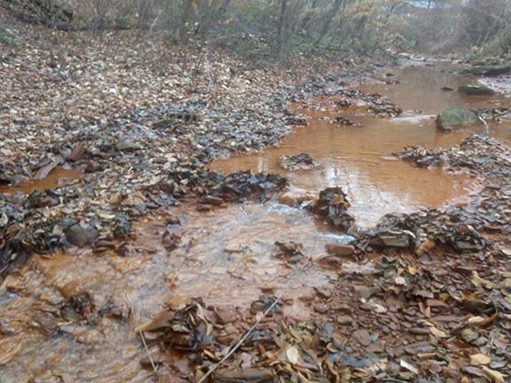 Acid mine drainage at Lens Creek, WV